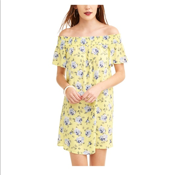 5289a9979749 NWT Yellow Purple Floral Off The Shoulder Dress XL